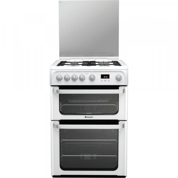60cm Gas Cooker Double Oven White