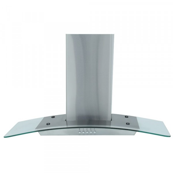 60cm Curved Glass Chimney Hood In Stainless Steel