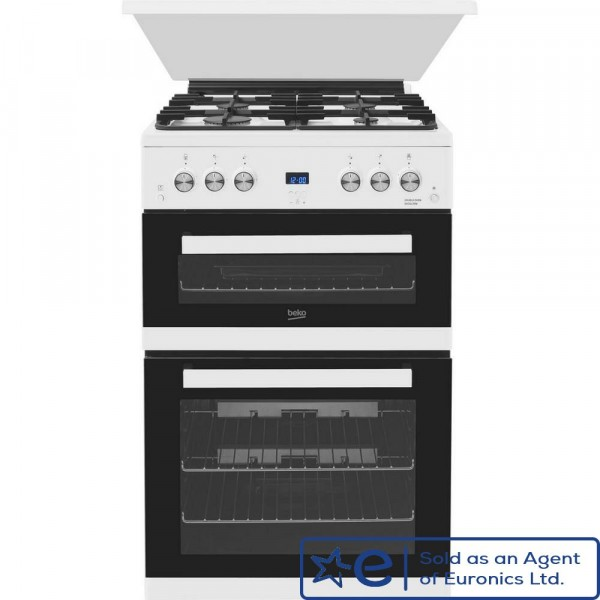 60cm Gas Cooker With Double Oven In White