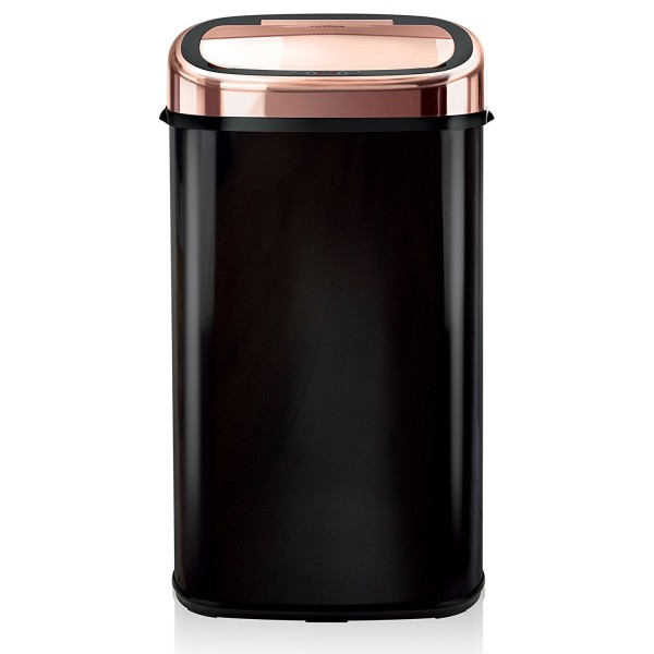 58ltr Square Sensor Bin In Black & Rose Gold