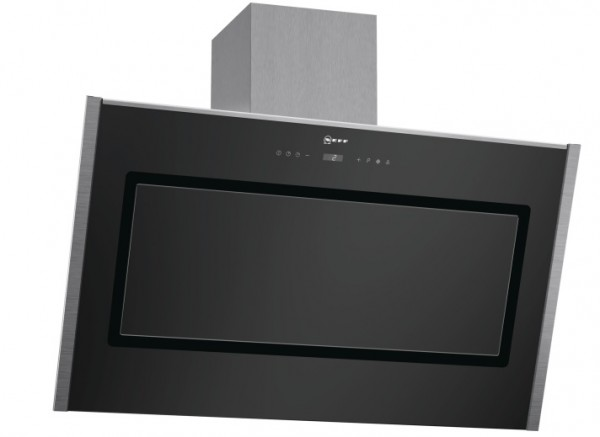 90cm Black Glass Angled Chimney Hood with S/S Trim