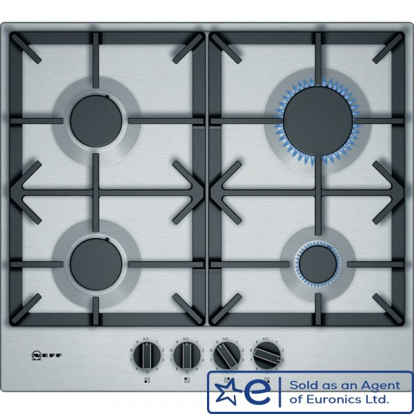 4 Zone Gas Hob With Cast Iron Pan Supports In Stainless