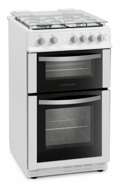 50cm Double Oven Gas Cooker in White