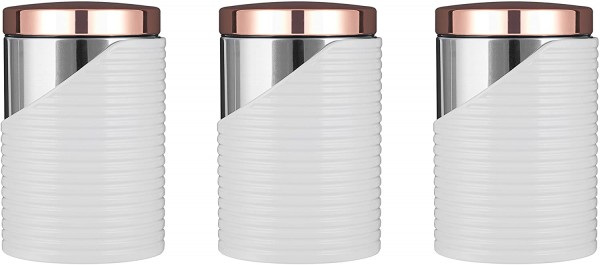 Set Of 3 White & Rose Gold Canisters