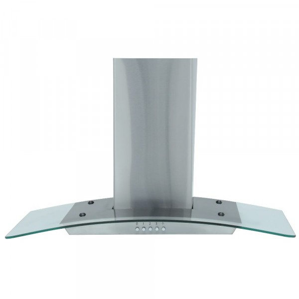 70cm 3 Speed Curved Glass And Stainless Steel Chimney Hood