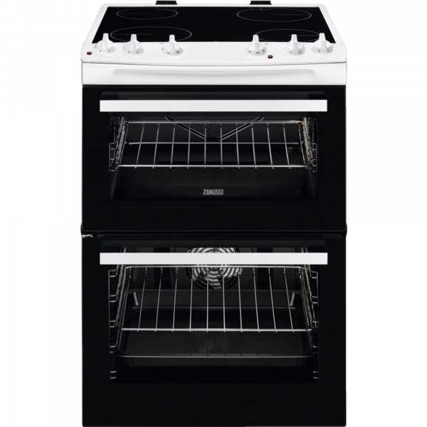 60cm Electric Cooker With Double Oven And Ceramic Hob In White