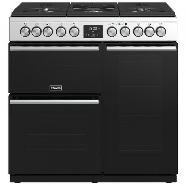 90cm Precision Deluxe Dual Fuel Range Cooker In Stainless