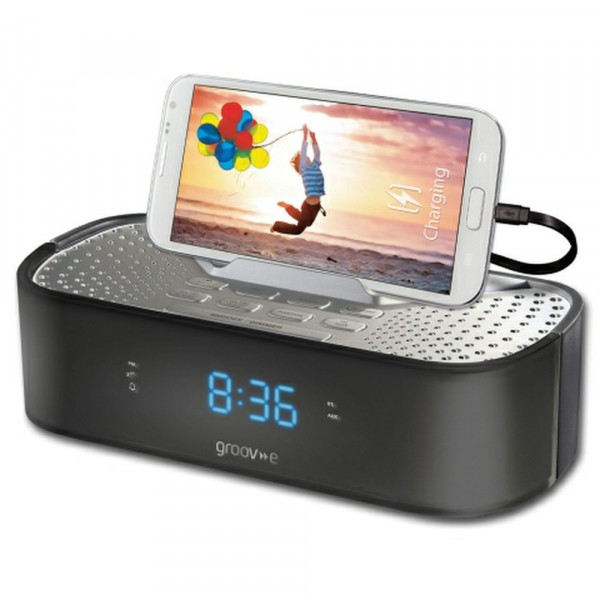 FM Clock Radio With USB Charging Station