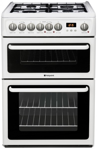 Hotpoint Double Oven 60cm Gas In White