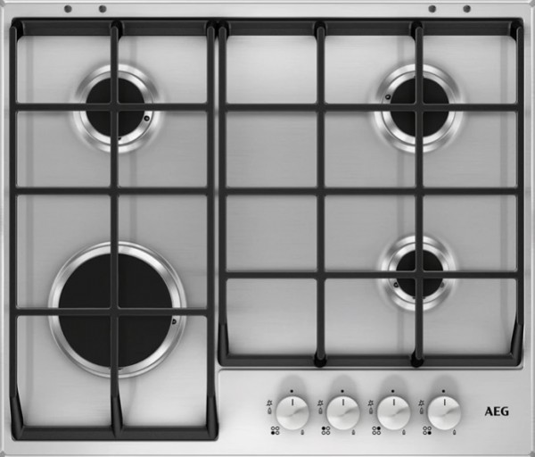 4 Burner Gas hob with Front Controls in Stainless Steel