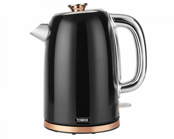 1.7ltr 3kw Black And Rose Gold Kettle