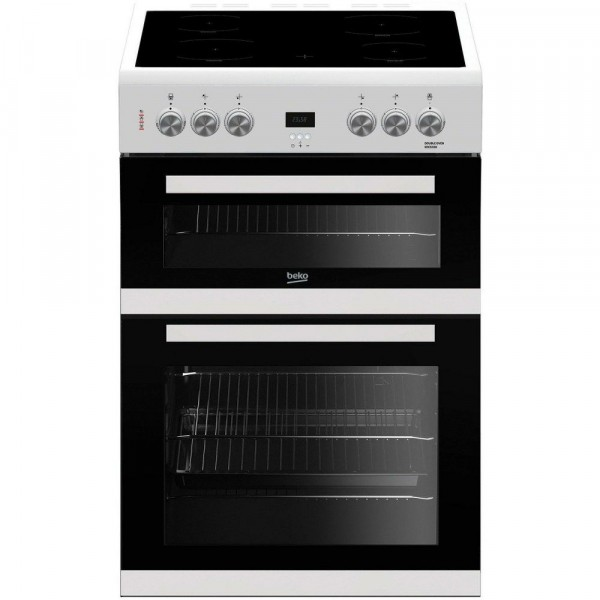 60cm Electric Cooker With Double Oven In White