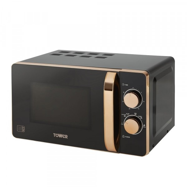 20ltr 800w Manual Microwave In Rose Gold And Black