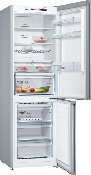 60cm Wide 186cm Tall Frost Free Fridge Freezer In Silver