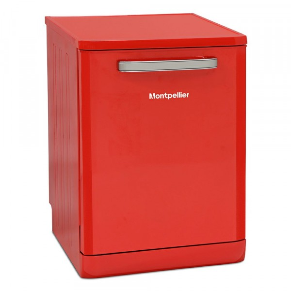 60cm Retro Full Size Freestanding Dishwasher In Red