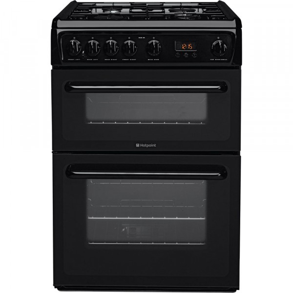 60cm Gas Cooker With Double Oven Black