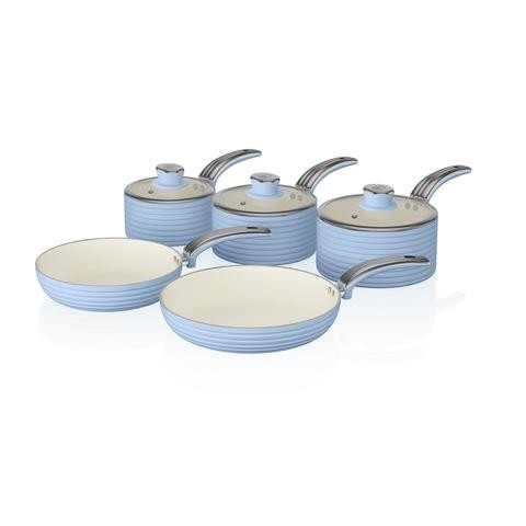 Retro 5 piece Blue Induction Pan Set