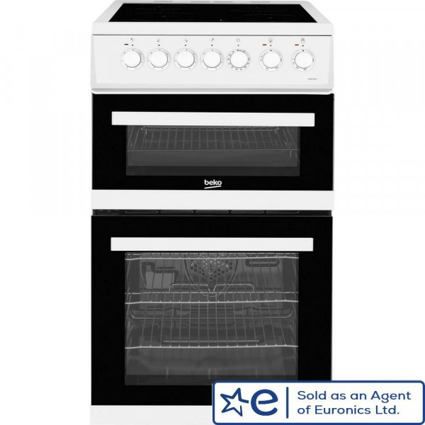 50cm Electric Cooker With Double Oven And Ceramic Hob In White