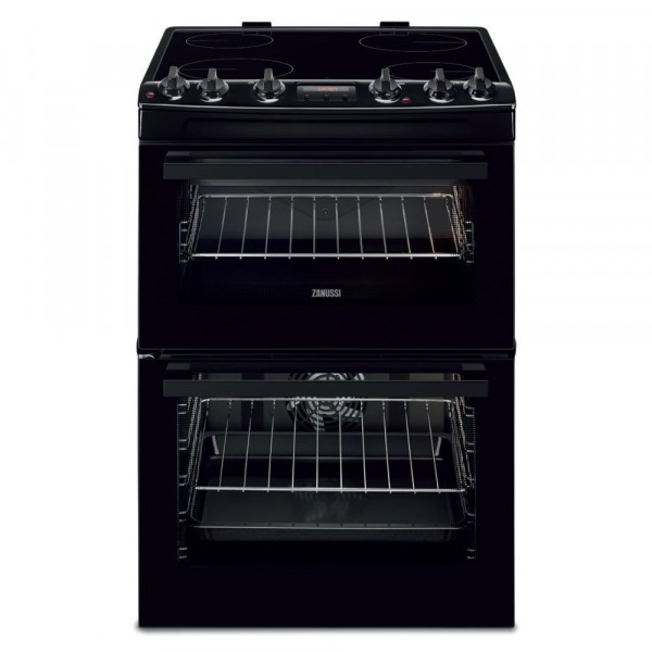 60cm Electric Cooker With Double Oven And Ceramic Hob In Black