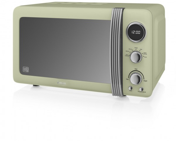 20ltr 800w Retro Digital Microwave in Green
