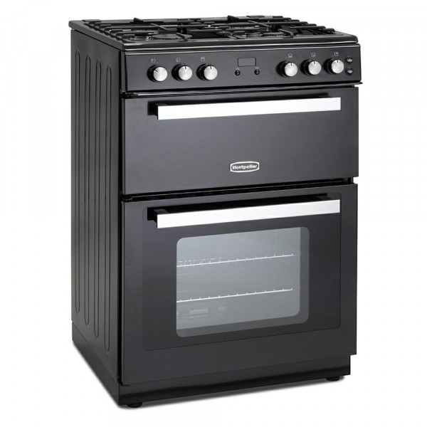 60cm Gas Cooker With Double Oven In Black