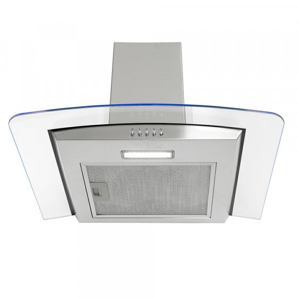 60cm 3 Speed Edge Lit Stainless Steel And Glass Hood