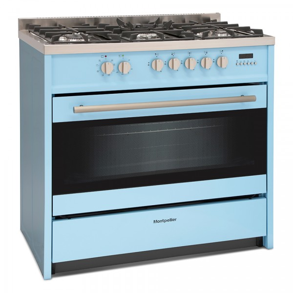 90cm Single Cavity Dual Fuel Range Cooker In Pure Blue