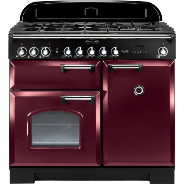 Rangemaster CDL100DFFCY/C Classic Deluxe Cranberry 100cm Dual Fuel Range Cooker