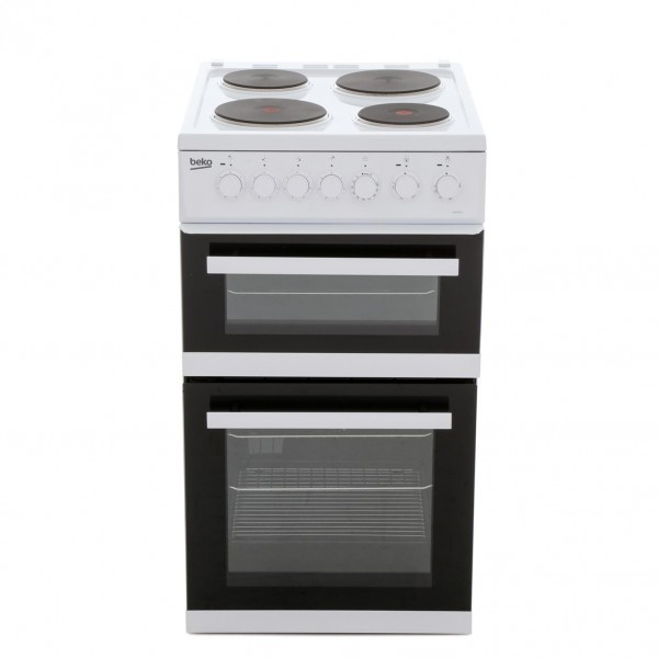 Beko EDP503W Solid Plate Electric Cooker with Double Oven