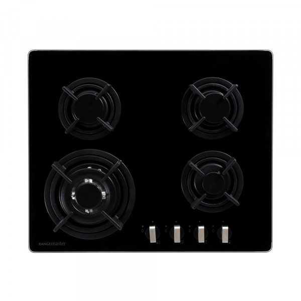 Rangemaster RMB60HPNGFGL Black Glass 4 Burner Gas Hob