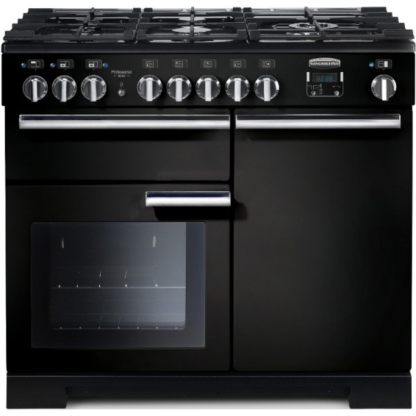 Rangemaster PDL100DFFGB/C Professional Deluxe Gloss Black 100cm Dual Fuel Range Cooker