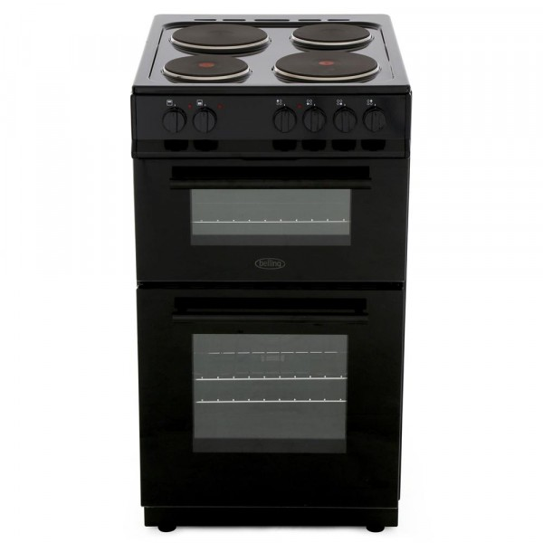 Belling FS50EFDO Black Solid Plate Electric Cooker with Double Oven