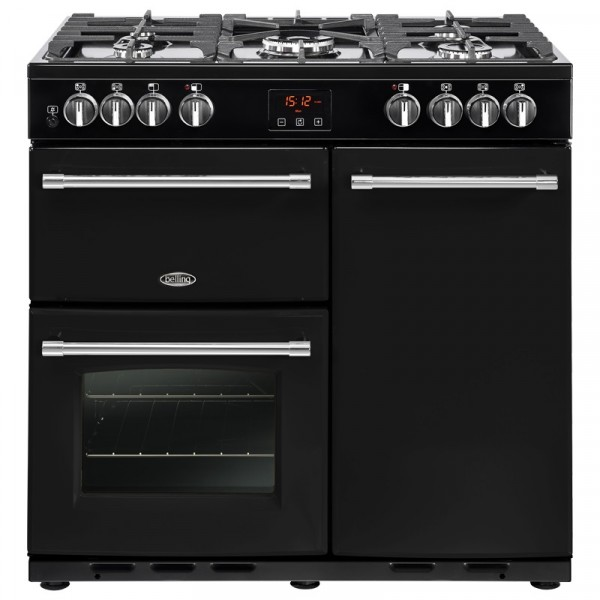 Belling Farmhouse 90DFT 90cm Dual Fuel Range Cooker In Black 444444121