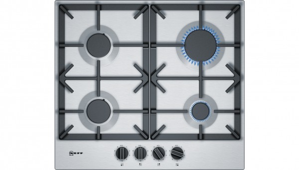 Neff T26DS49NO Gas Hob with knobs and casy iron pan supports T26DS49N0
