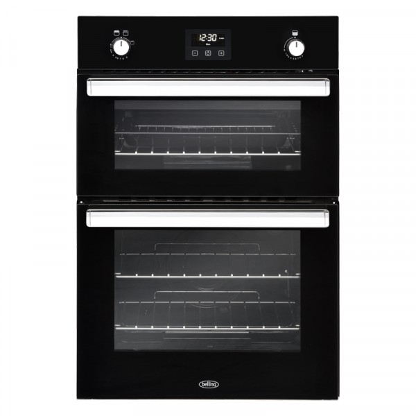 Belling BI902GBLK black double GAS oven built in 444444796