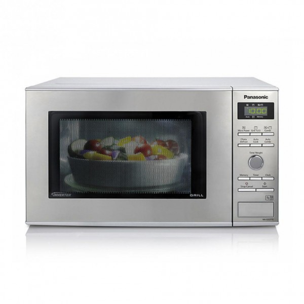 Panasonic NNGD37HSBPQ Compact Silver Microwave Oven with Grill