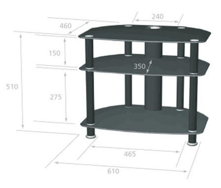 AVCR26-3BLK glass stand