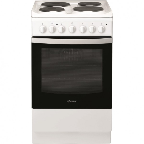 Indesit IS5E4KHW 50cm Single Oven Electric Cooker in White, Solid Plate