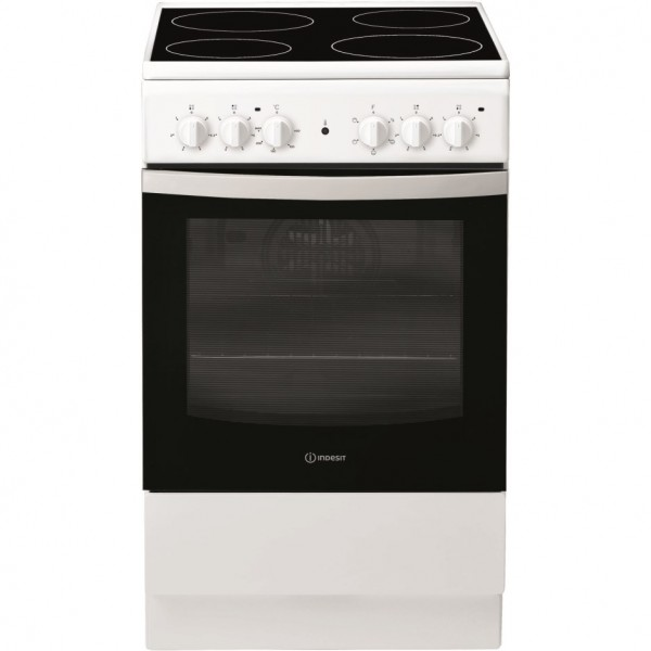Indesit IS5V4KHW 50cm Single Oven Electric Cooker With Ceramic Hob - White