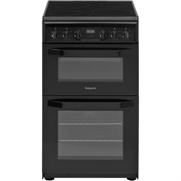 Hotpoint HD5V93CCBUK Cooker 50cm wide double oven ceramic hob & timer