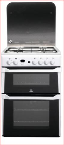 Indesit ID60G2W 60cm Double Oven Gas Cooker with Lid - White ID60G2W