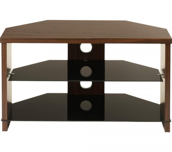 TTAP Montreal TV Stand in Walnut and Black Glass MON-1050-WAL