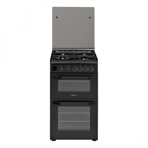 Hotpoint Gas cooker HD5G00CCBUK 50cm double oven with lid and full width gas grill
