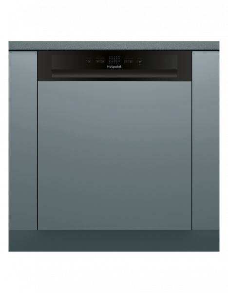 Hotpoint HBC2B19 Semi integrated dishwasher with Black fascia panel