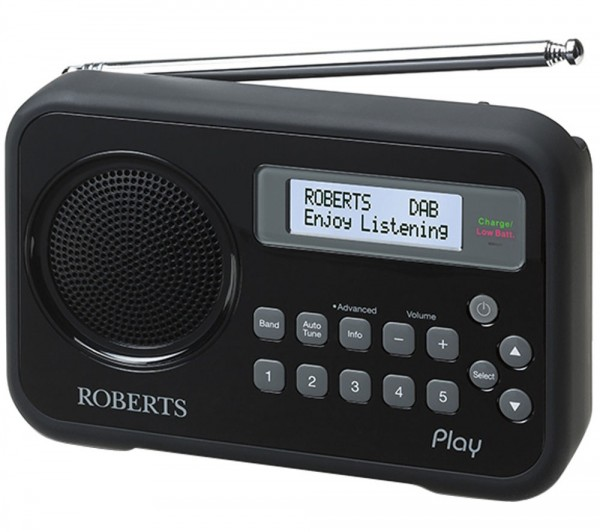 Roberts Radio Play Black finish DAB radio also with FM