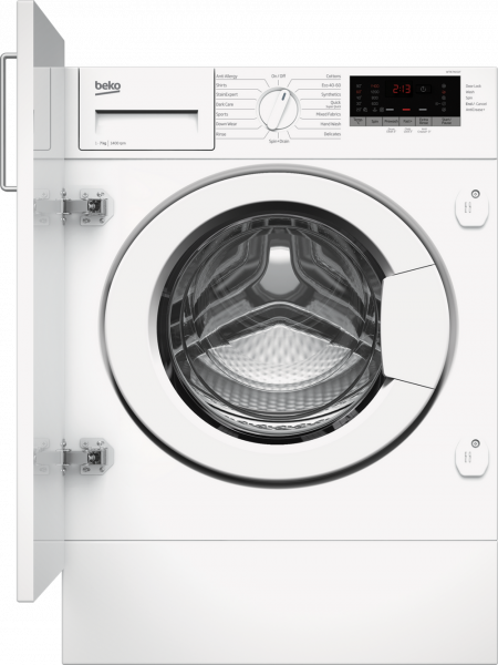 Beko WTIK74151F 7kg 1400 Spin Integrated Washing Machine - White - A+++