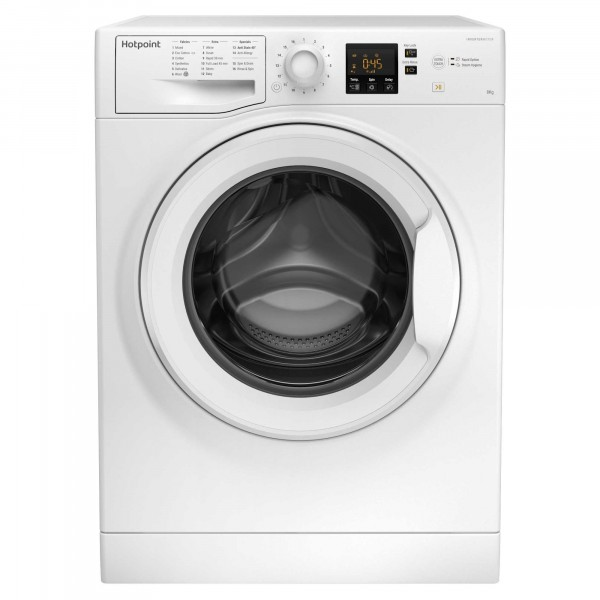 Hotpoint 1400 spin 8kg load washer NSWF843CWUKN NEW D Energy rating