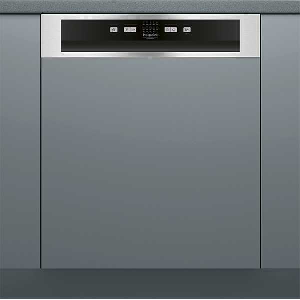 Hotpoint HBC2B19X Semi integrated dishwasher with Steel fascia panel
