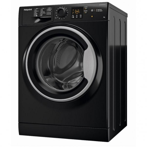 Hotpoint Black washer 9kg load 1400 spin steam function NSWF943CBSUK