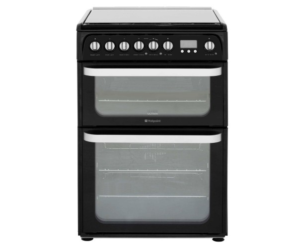 Hotpoint HUD61KS Double Oven Dual Fuel Cooker In Black